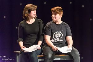 "Image courtesy of ACT. UPEI Students Cassinda Bulger and Courtney Starkman act in ""Small Talk"" during the 2015 Festival"